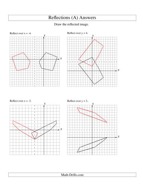 The Reflection of 5 Vertices Over Various Lines (A) Math Worksheet Page 2