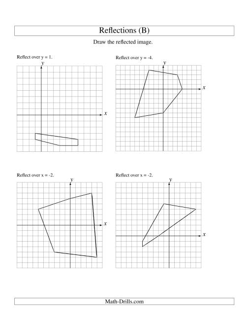 The Reflection of 5 Vertices Over Various Lines (B) Math Worksheet