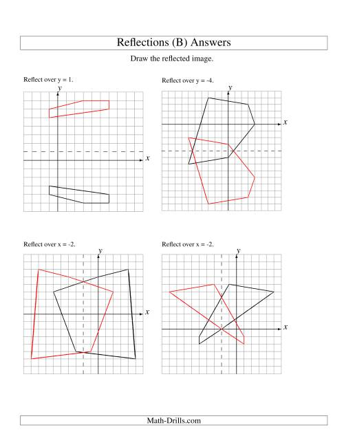 The Reflection of 5 Vertices Over Various Lines (B) Math Worksheet Page 2