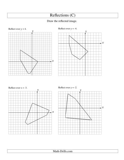 The Reflection of 5 Vertices Over Various Lines (C) Math Worksheet