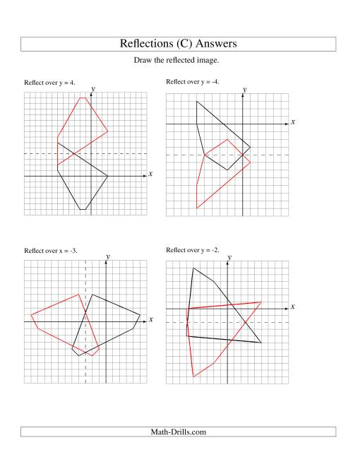 The Reflection of 5 Vertices Over Various Lines (C) Math Worksheet Page 2