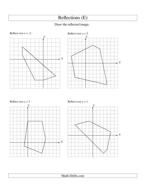 The Reflection of 5 Vertices Over Various Lines (E) Math Worksheet