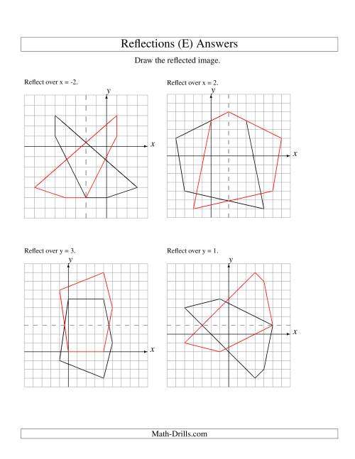 The Reflection of 5 Vertices Over Various Lines (E) Math Worksheet Page 2