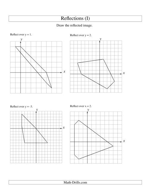 The Reflection of 5 Vertices Over Various Lines (I) Math Worksheet