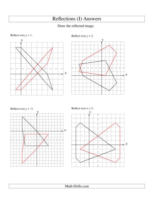 The Reflection of 5 Vertices Over Various Lines (I) Math Worksheet Page 2