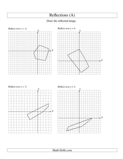 The Reflection of 5 Vertices Over Various Lines (All) Math Worksheet