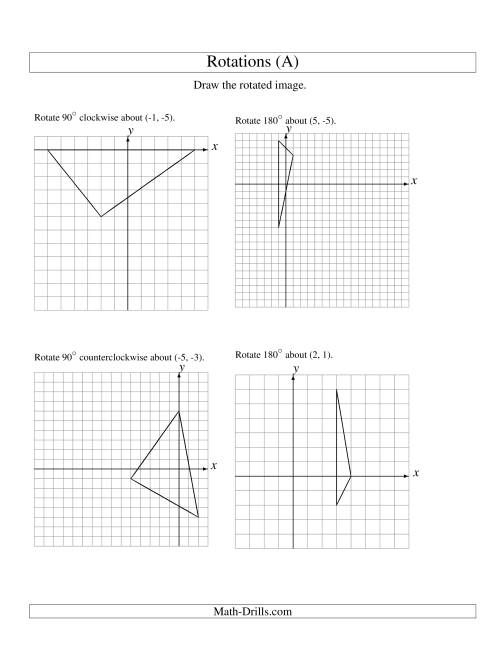 The Rotation of 3 Vertices around Any Point (A) Geometry Worksheet
