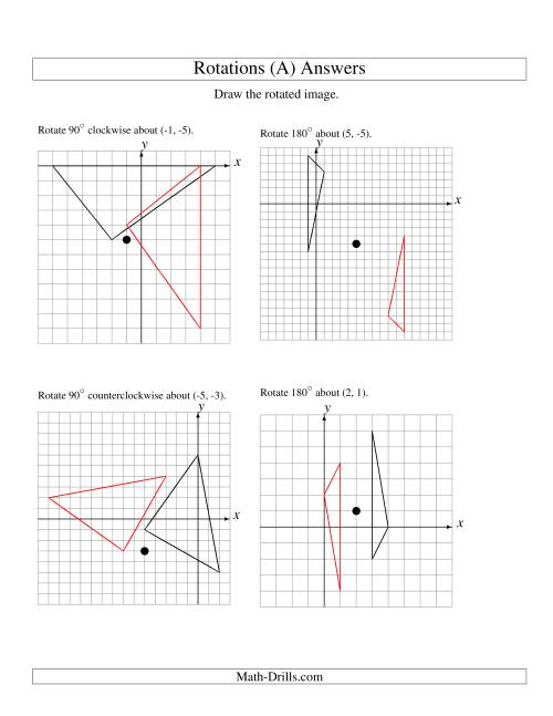 Worksheets Rotations Worksheet rotation of 3 vertices around any point a the math worksheet page 2