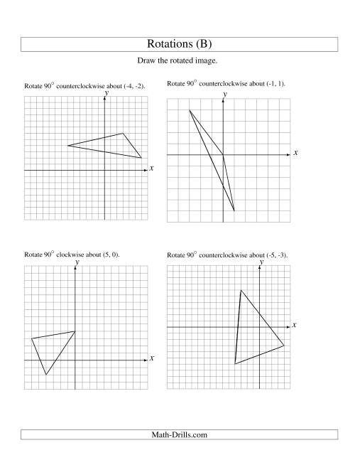 The Rotation of 3 Vertices around Any Point (B) Math Worksheet