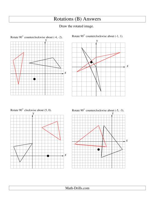 The Rotation of 3 Vertices around Any Point (B) Math Worksheet Page 2