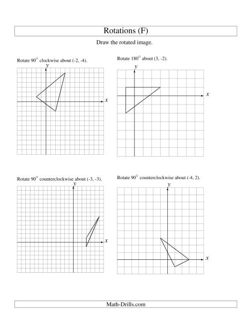 The Rotation of 3 Vertices around Any Point (F) Math Worksheet
