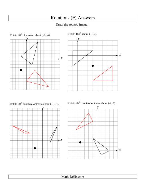The Rotation of 3 Vertices around Any Point (F) Math Worksheet Page 2