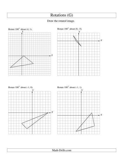 The Rotation of 3 Vertices around Any Point (G) Math Worksheet