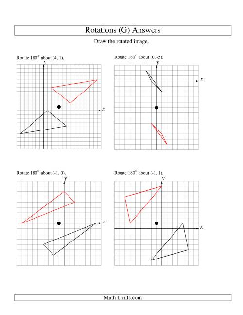 The Rotation of 3 Vertices around Any Point (G) Math Worksheet Page 2