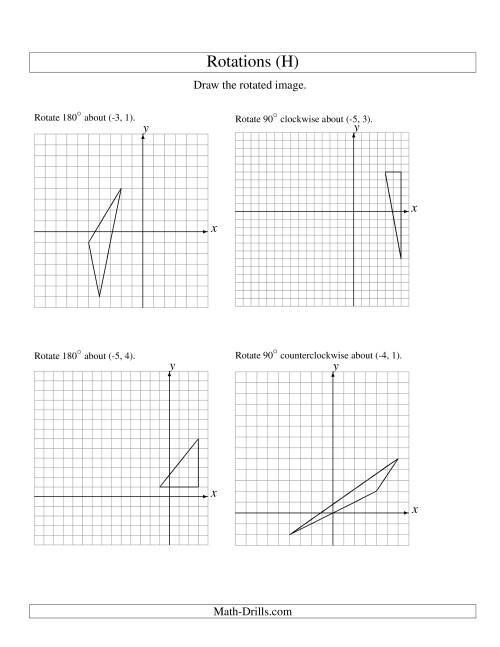 The Rotation of 3 Vertices around Any Point (H) Math Worksheet
