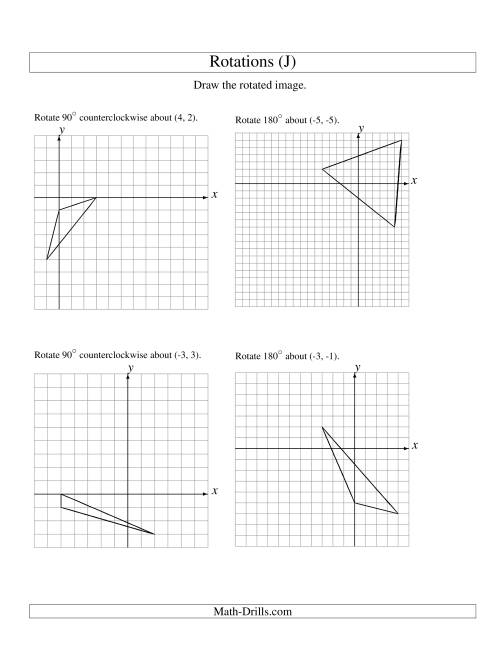 The Rotation of 3 Vertices around Any Point (J) Math Worksheet