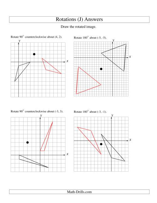 The Rotation of 3 Vertices around Any Point (J) Math Worksheet Page 2