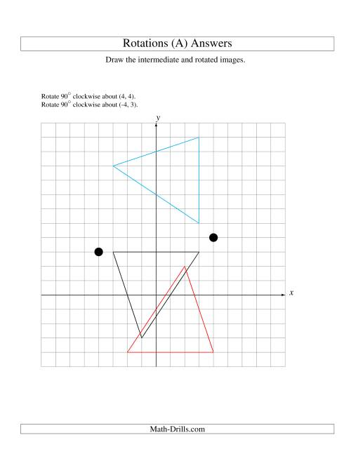 The Two-Step Rotation of 3 Vertices around Any Point (A) Math Worksheet Page 2