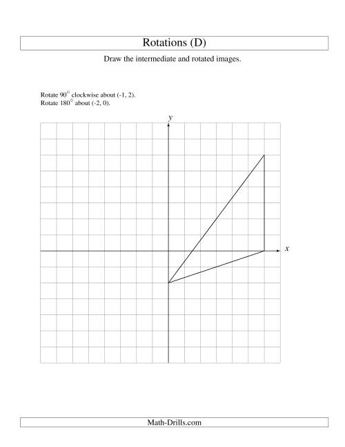 The Two-Step Rotation of 3 Vertices around Any Point (D) Math Worksheet