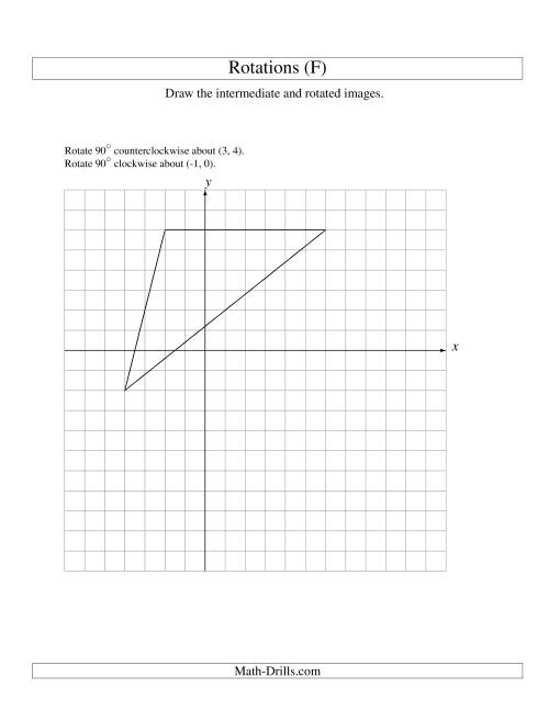 The Two-Step Rotation of 3 Vertices around Any Point (F) Math Worksheet