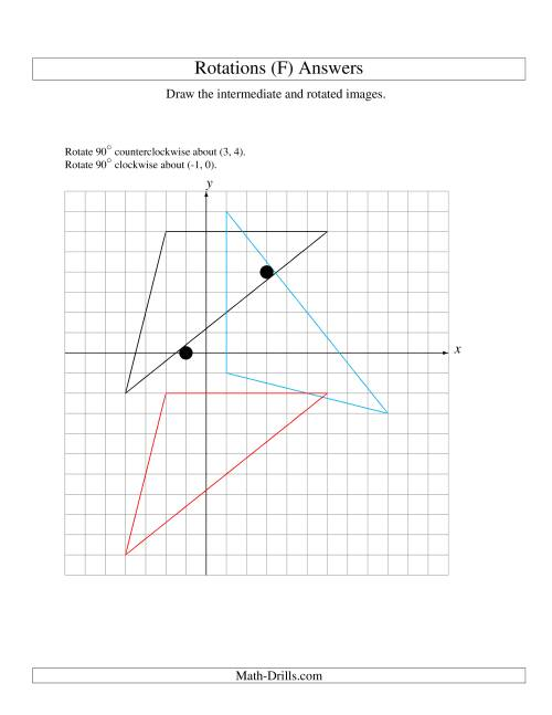 The Two-Step Rotation of 3 Vertices around Any Point (F) Math Worksheet Page 2