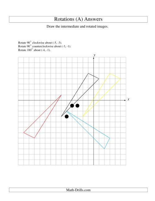 The Three-Step Rotation of 3 Vertices around Any Point (A) Math Worksheet Page 2