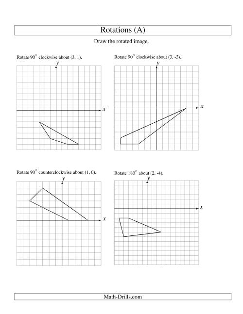 The Rotation of 4 Vertices around Any Point (A) Math Worksheet