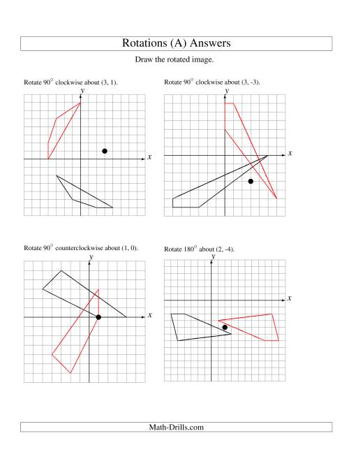 The Rotation of 4 Vertices around Any Point (A) Math Worksheet Page 2