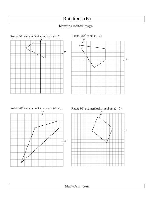 The Rotation of 4 Vertices around Any Point (B) Math Worksheet