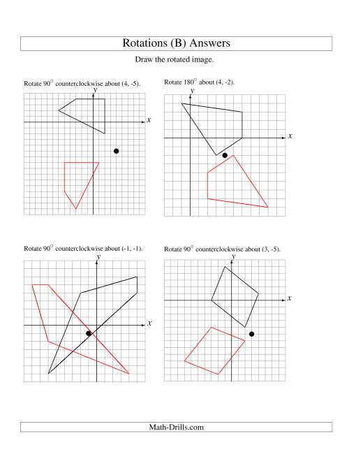 The Rotation of 4 Vertices around Any Point (B) Math Worksheet Page 2
