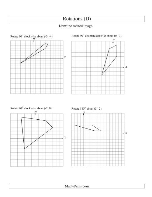 The Rotation of 4 Vertices around Any Point (D) Math Worksheet