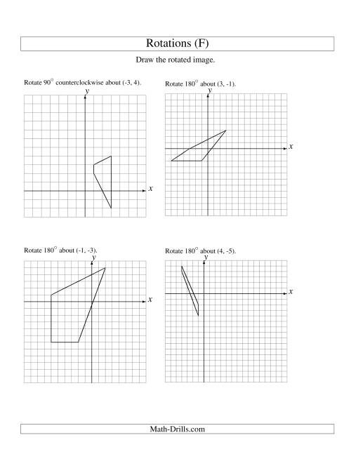 The Rotation of 4 Vertices around Any Point (F) Math Worksheet