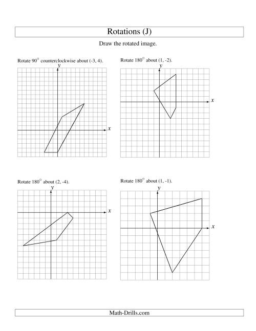 The Rotation of 4 Vertices around Any Point (J) Math Worksheet
