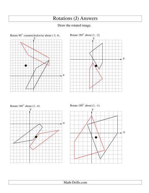 The Rotation of 4 Vertices around Any Point (J) Math Worksheet Page 2