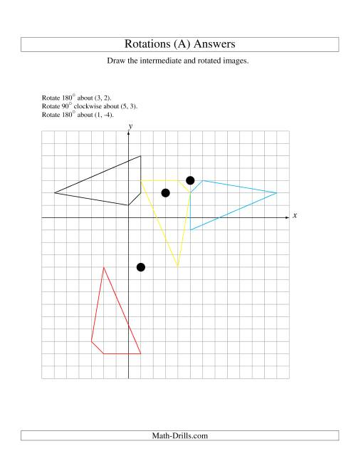 The Three-Step Rotation of 4 Vertices around Any Point (A) Math Worksheet Page 2