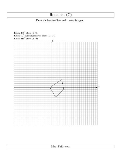 The Three-Step Rotation of 4 Vertices around Any Point (C) Math Worksheet