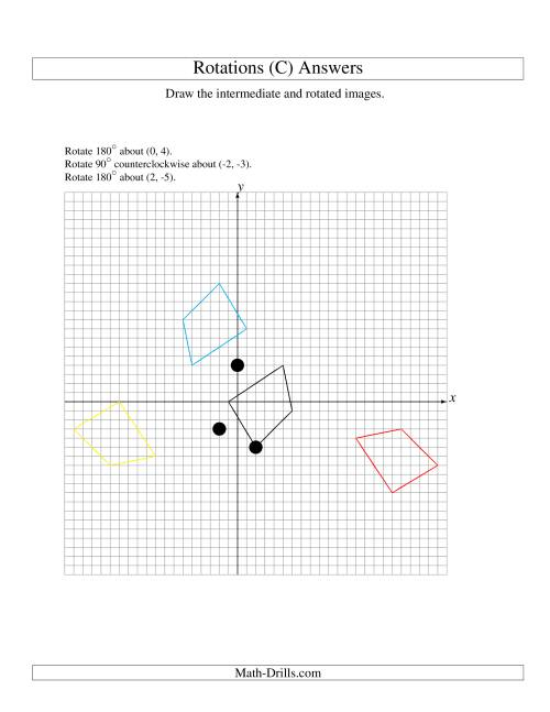 The Three-Step Rotation of 4 Vertices around Any Point (C) Math Worksheet Page 2