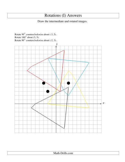The Three-Step Rotation of 4 Vertices around Any Point (I) Math Worksheet Page 2