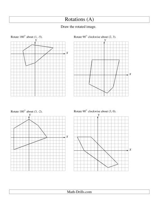 The Rotation of 5 Vertices around Any Point (A) Math Worksheet