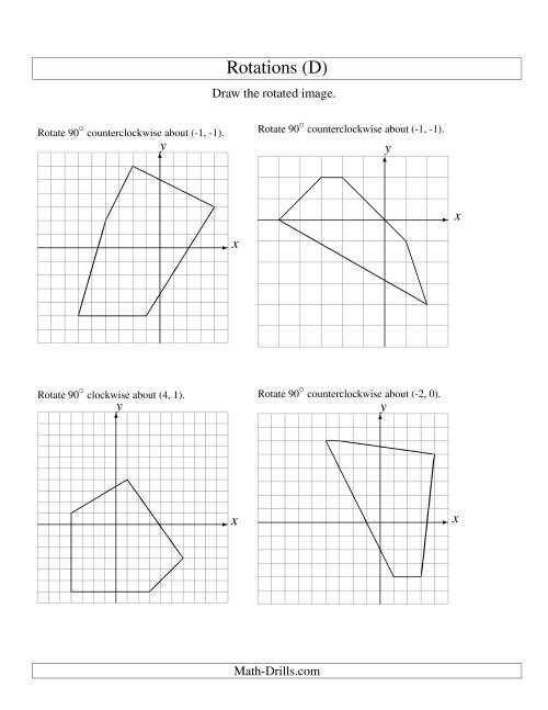 The Rotation of 5 Vertices around Any Point (D) Math Worksheet