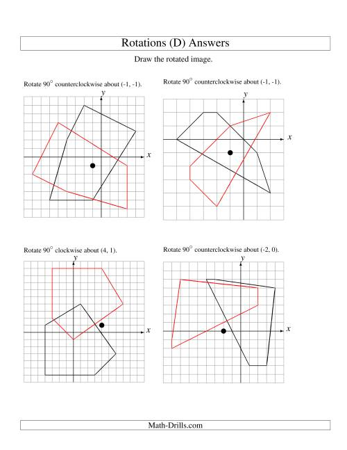 The Rotation of 5 Vertices around Any Point (D) Math Worksheet Page 2