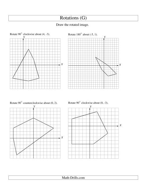 The Rotation of 5 Vertices around Any Point (G) Math Worksheet
