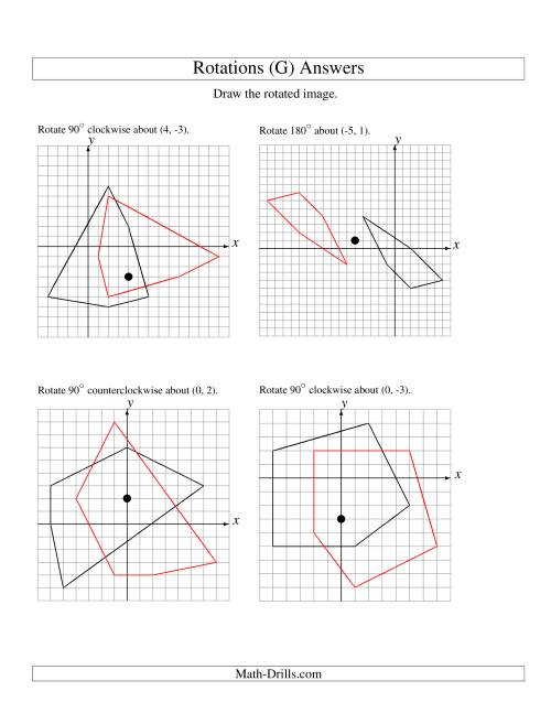 The Rotation of 5 Vertices around Any Point (G) Math Worksheet Page 2