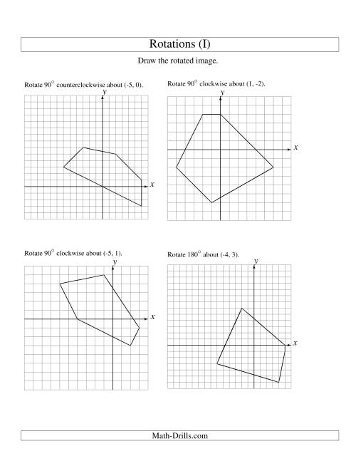 The Rotation of 5 Vertices around Any Point (I) Math Worksheet