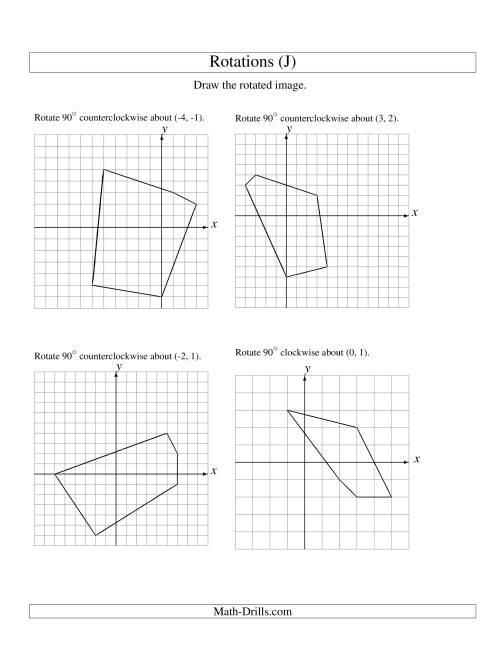 The Rotation of 5 Vertices around Any Point (J) Math Worksheet