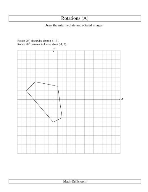 Worksheets Rotations Worksheet two step rotation of 5 vertices around any point a the a