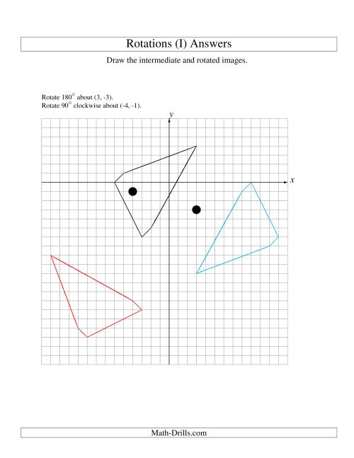 The Two-Step Rotation of 5 Vertices around Any Point (I) Math Worksheet Page 2