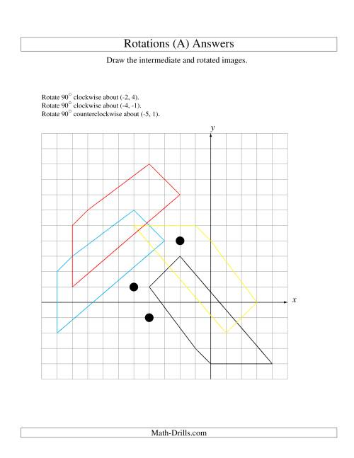 The Three-Step Rotation of 5 Vertices around Any Point (A) Math Worksheet Page 2