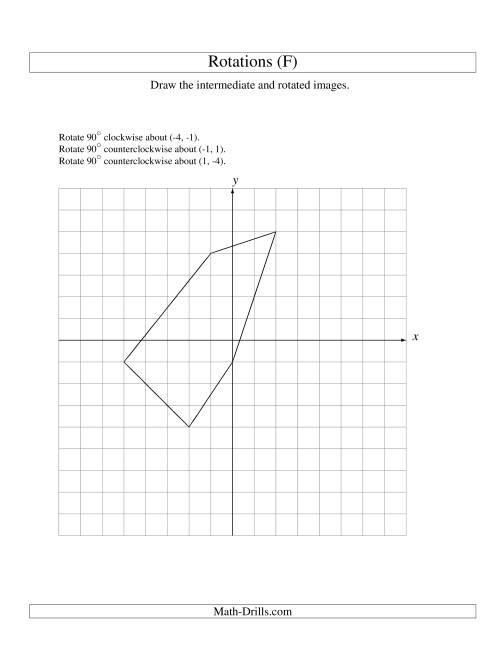 The Three-Step Rotation of 5 Vertices around Any Point (F) Math Worksheet