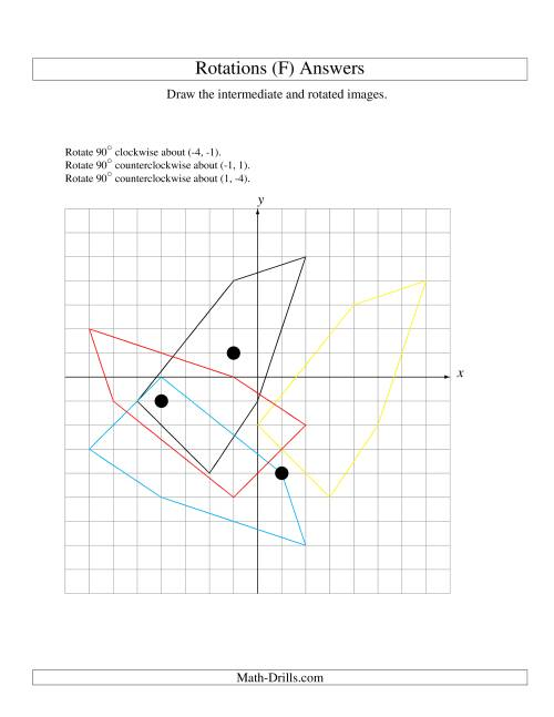 The Three-Step Rotation of 5 Vertices around Any Point (F) Math Worksheet Page 2